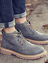 cheap -Men's Shoes PU Spring Fall Combat Boots Boots Booties/Ankle Boots for Outdoor Gray Coffee Khaki