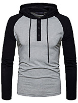 cheap -men's sports going out simple casual solid color block hooded hoodie regular, long sleeves spring fall cotton polyester