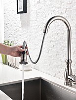 cheap -Contemporary Tall/­High Arc Standard Spout Pull-out/­Pull-down Centerset Pullout Spray Thermostatic Ceramic Valve Single Handle One Hole