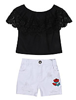 cheap -Girls' Daily Solid Colored Floral Clothing Set, Cotton Polyester Summer Short Sleeves Basic Black