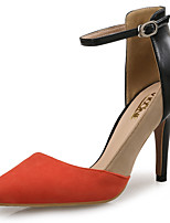 cheap -Women's Shoes Flocking Leather Spring Summer Comfort Heels Stiletto Heel Pointed Toe for Wedding Party & Evening Orange/Black