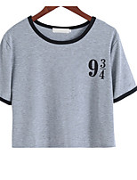 cheap -Women's Holiday Basic Cotton T-shirt - Solid Colored Letter, Print