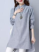 cheap -Women's Basic Puff Sleeve Shirt - Striped, Print Stand