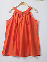 cheap -Girl's Daily Solid Dress, Polyester Summer Sleeveless Simple Orange