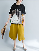 cheap -Women's Puff Sleeve Cotton T-shirt - Solid Colored Tassel