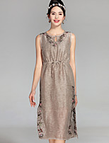 cheap -Women's Work Vintage Sophisticated Loose Dress - Solid Colored, Embroidered V Neck
