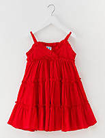 cheap -Girl's Daily Solid Dress, Cotton Spring Summer Sleeveless Cute Active Red