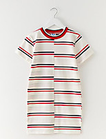 cheap -Girl's Daily Striped Dress, Cotton Spring Summer Short Sleeves Simple Casual Beige