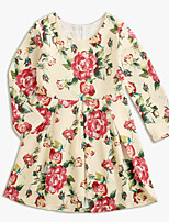 cheap -Girl's Daily Solid Floral Dress, Cotton Linen Bamboo Fiber Acrylic Spring Long Sleeves Simple Vintage Beige