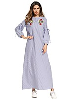 cheap -SHE IN SUN Women's Oversized Loose Dress - Striped Basic Embroidered Maxi