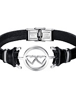 cheap -Men's Leather Heart Bracelet - Casual Cool Heart Black Bracelet For Daily Date