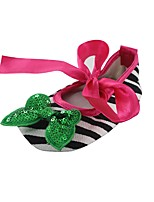 cheap -Girls' Shoes Fabric Spring Fall Crib Shoes First Walkers Comfort Flats Bowknot Ribbon Tie for Wedding Dress Green