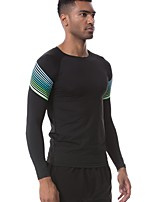 cheap -Men's Running T-Shirt Long Sleeves Breathability T-shirt for Exercise & Fitness Polyester White Black Green Red/White S M L XL XXL