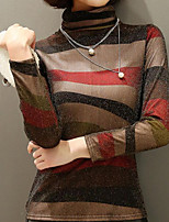cheap -Women's Basic Slim T-shirt - Striped Turtleneck