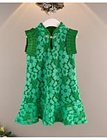 abordables -Robe Fille de Quotidien Vacances Couleur Pleine Fleur Coton Polyester Eté Sans Manches Basique Chinoiserie Vert Rose Claire Jaune