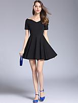 abordables -Femme Mince Trapèze Noir Robe - Basique, Couleur unie Col en V Mini