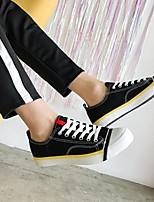 baratos -Homens sapatos Lona Primavera Outono Conforto Tênis para Casual Branco Preto