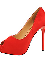cheap -Women's Shoes PU Velvet Summer Fall Basic Pump Comfort Heels Stiletto Heel Open Toe Peep Toe for Office & Career Party & Evening Red