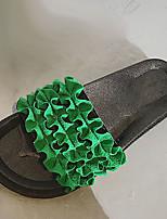 cheap -Women's Shoes PU Summer Comfort Slippers & Flip-Flops Flat Heel Round Toe for Casual Black Beige Green Pink