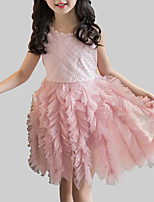 cheap -Girl's Party Daily Patchwork Dress, Rayon Polyester Summer Sleeveless Cute White Blushing Pink