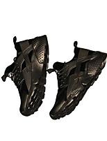 baratos -Homens sapatos Couro Ecológico Primavera Outono Conforto Tênis para Casual Preto Branco/Preto