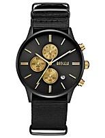 abordables -BAOGELA Hombre Cuarzo Reloj de Moda Reloj Deportivo Reloj Casual Chino Calendario Reloj Casual Cronómetro Nailon Banda Casual Moda Negro