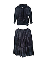 Недорогие -Девочки Набор одежды Для вечеринок Повседневные Полиэстер Однотонный Весна Длинный рукав Простой Темно синий