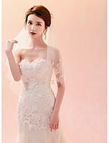 preiswerte -Einschichtig Schleier Spitze Hochzeitsschleier Ellbogenlange Schleier Fingerspitzenlange Schleier Mit Verstreute Perlen mit Blumen Spitze