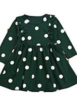 abordables -Robe Fille de Quotidien Points Polka Polyester Printemps Manches Longues Rétro Vert Véronèse