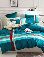 cheap -Duvet Cover Sets Stripes/Ripples 4 Piece Poly/Cotton 100% Cotton Yarn Dyed Poly/Cotton 100% Cotton 1pc Duvet Cover 2pcs Shams 1pc Flat