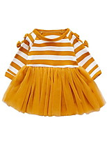 cheap -Girl's Daily Striped Dress, Polyester Spring Long Sleeves Vintage Black Blushing Pink Yellow