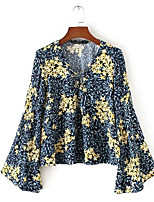 cheap -Women's Going out Vintage Loose Blouse - Floral V Neck