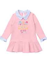 cheap -Girl's Daily Patchwork Dress, Cotton Spring Summer Long Sleeves Casual Active White Blushing Pink