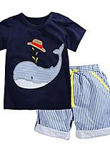 preiswerte -Jungen Kleidungs Set Alltag Ausgehen Gestreift Patchwork Baumwolle Sommer Kurzarm Freizeit Street Schick Blau