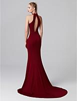 baratos -Sereia Gola Alta Cauda Corte Microfibra Jersey Baile de Formatura / Evento Formal Vestido com Pregas de TS Couture®