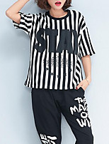 abordables -Mujer Chic de Calle Camiseta A Rayas