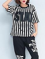 cheap -Women's Going out Street chic T-shirt - Striped