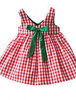cheap -Girl's Daily Holiday Solid Colored Plaid Dress, Cotton Polyester Summer Sleeveless Basic Red
