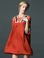 cheap -Women's Sophisticated Loose Dress - Color Block, Embroidered