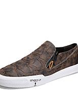 Недорогие -Муж. обувь Дерматин Кожа Весна Лето Удобная обувь Мокасины и Свитер Для прогулок для Повседневные Черный Коричневый Хаки