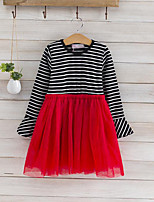 cheap -Girl's Daily Striped Patchwork Dress, Cotton Polyester Spring Fall Long Sleeves Cute Black Red