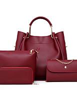 cheap -Women's Zipper PU Bag Set Solid Color 4 Pieces Purse Set Black / Brown / Wine