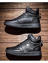 baratos -Homens sapatos Couro Ecológico Primavera Outono Conforto Tênis para Casual Branco Preto
