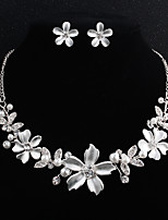 cheap -Women's Rhinestone Pearl Floral Jewelry Set 1 Necklace Earrings - Floral Fashion European Flower Silver Jewelry Set For Wedding Daily