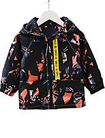 abordables -Trench Garçon Quotidien Sports Couleur Pleine Imprimé Polyester Printemps Automne Manches Longues simple Décontracté Noir Rouge