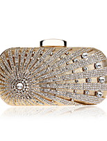 cheap -Women's Bags Polyester Metal Evening Bag Buttons Crystal Detailing for Wedding Event/Party All Seasons Gold Black Silver