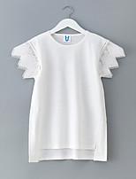 abordables -Robe Fille de Quotidien Vacances Couleur Pleine Coton Spandex Printemps Eté Manches Courtes simple Actif Blanc