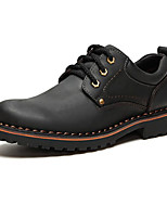 cheap -Men's Shoes Cowhide Fall Winter Comfort Oxfords for Casual Outdoor Black Brown Camel