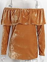 abordables -Tee-shirt Femme,Couleur Pleine Basique