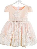 preiswerte -Mädchen Kleid Alltag Solide Blumen Polyester Frühling Kurzarm Niedlich Aktiv Weiß Rosa Beige
